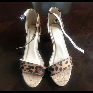 Shoes - Leopard print cork heeled sandals